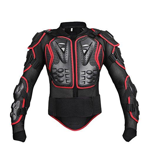 Lanlan Bekleidung Fahrrad, Fahrrad Zubehör, Uniformen, Kleidung Fahrrad Rennrad, Herren Motorrad Motocross Racing Protective Mesh Jacket Armor Full Body Spine Brust Arm Protector Gear, XXL_Black Red
