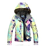 Women's ski snowboard jacket waterproof warm winter lined jacket colorful printed 921 M