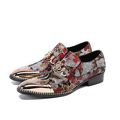 Herren Schuhe Leder Frühling Sommer Comfort Oxfords Spitz für Hochzeit & Abendmode Hairstylist Tide Schuhe (Color : A, Größe : 42) (Oxford Comfort)