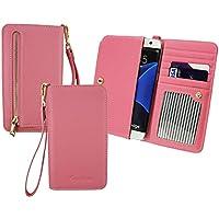 Emartbuy® Baby Rosa PU Leder Kupplung Geldbörse Pouch Tasche sleeve (Größe 3XL) Mit Münzfach, Kartensteckplätze und Abnehmbare Handschlaufe Passend für Mobistel Cynus F7 4G Smartphone