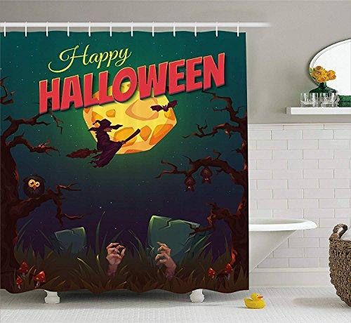 KRISTI MCCARTNEY Halloween Shower Curtain, Happy Halloween Poster Design Witch on Broom Mushroom Dead Resurgence Vintage, Fabric Bathroom Decor Set with Hooks, 70 inches, Multicolor