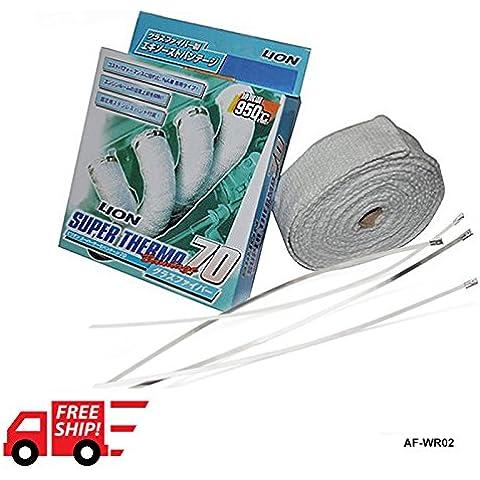 """sypure (TM) autofab–Bill * * 2""""x10m bianco calore turbo collettore di scarico termico Wrap nastro con acciaio Ties af-wr02"""