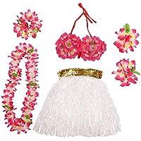 Amosfun Fiesta Rendimiento Traje Hawaii Tropical Hula Grass Baile Falda Flor Pulseras Cabeza Loop Cuello Conjunto de Flores Vestido de Fiesta Conjunto de Disfraces