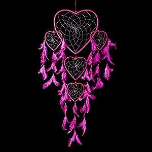 Capteur de rêves ~ en forme de cœur de rose chaud à la main avec coeur de chaîne argent 22cm et 60cm de long !