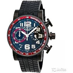 Graham Silverstone Stowe 2saabb01ak07N Breaker Clock PVC quandrante Black Strap CAUCCIU '