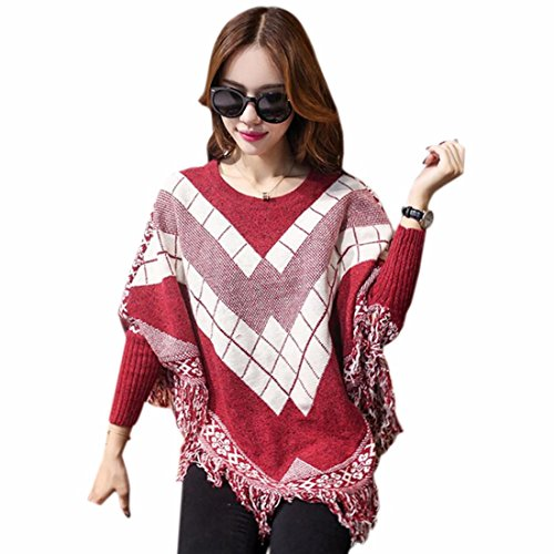 QIYUN.Z Les Femmes Cape Coreen Glands Manches Chauve-Souris De L'Aile Chandail Ourlet Cavaliers Outwear Hiver Vin Rouge