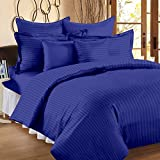 #7: 300 TC Duvet Cover - Double Size - Premium Cotton - Striped Duvet / Quilt / Comforter cover with zipper by Ahmedabad Cotton - 90 x 100 inches - Royal Blue