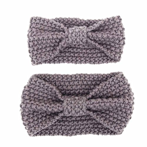 Covermason Mutter und Baby Haarband Mutter und Baby Stricken Wolle Geknotete Eltern-Kind Stirnband Hairband (Grau)
