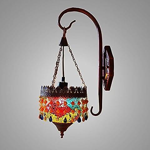 DIDIDD Applique - Asie du Sud-Est thaï - style vitrail simple - tête fer lampe de chevet miroir de chevet lampe de mur avant - wall lighting decorations