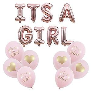 Yalulu It's A Girl Roségold Luftballons Baby Folienballons Banner + 8 Stück Latexballon für Geburt Eines Mädchen, Baby-Shower-Party Deko Oder Überraschung