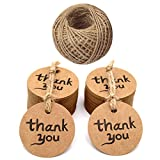 100 PCS Thank You Kraft Paper Gift Tags with String, Wedding Round Craft Hang Tags Bonbonniere Favor Gift Tags with Jute Twine 30 Meters Long for Crafts & Price Tags Label