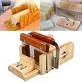 Tiptiper Molde del jabón, 3pcs Set de cortadores del cortador del molde del jabón de madera hechos a mano ajustables profesionales Set