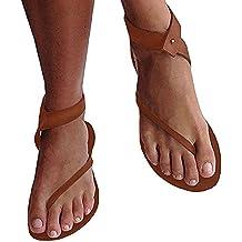Minetom Damen Sandalen Flache Knöchel Schuhen Gladiator Flip Flop Thong Sommerschuhe B Gold EU 39 V02paXWjg