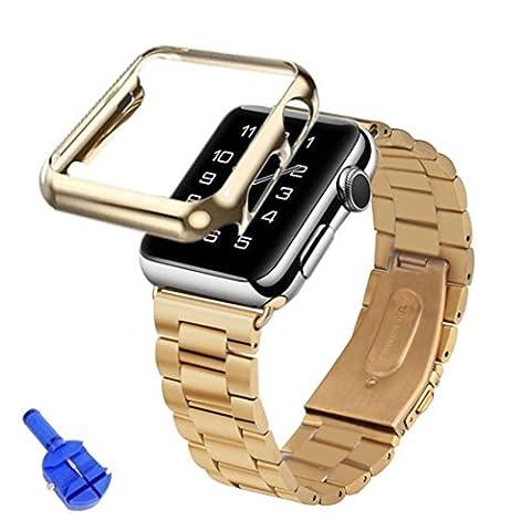 Malloom® Bracelet Pour Apple Watch iWatch montre en acier inoxydable + Adaptateur + Housse 38mm