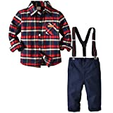 i-uend 2019 New Baby 2 Stück Outfits - Kleinkind Baby Kinder Jungen Gentleman Stripe Top T-Shirt Plaid Hose Hose Set für 1-6 Jahre