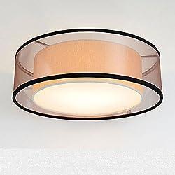 Modernes Design Runde LED-Deckenleuchte Stoff Textil Deckenlampe Crape Fabric Drum Shade Pendelleuchte für Wohnzimmer Schlafzimmer Schöne Küche Esszimmer Warmweiß Ø60xH25cm 4xE27 Schwarzes Garn