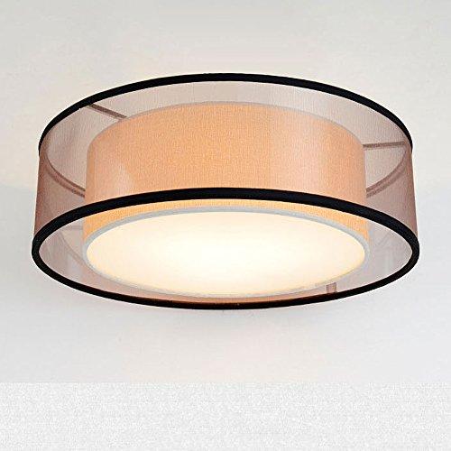 Modernes Design Runde LED-Deckenleuchte Stoff Textil Deckenlampe Crape Fabric Drum Shade Pendelleuchte für Wohnzimmer Schlafzimmer Schöne Küche Esszimmer Warmweiß Ø60xH25cm 4xE27 Schwarzes Garn -