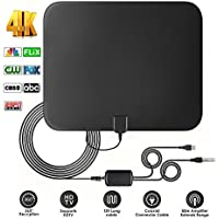 TV Aerial Indoor Digital Freeview 60 Miles/96Km Range HDTV Antenna with Detachable Amplifier Signal Booster and 13.1 FT High Performance Coaxial Cable for 4K 1080P VHF/UHF/FM - 2018 New Upgraded