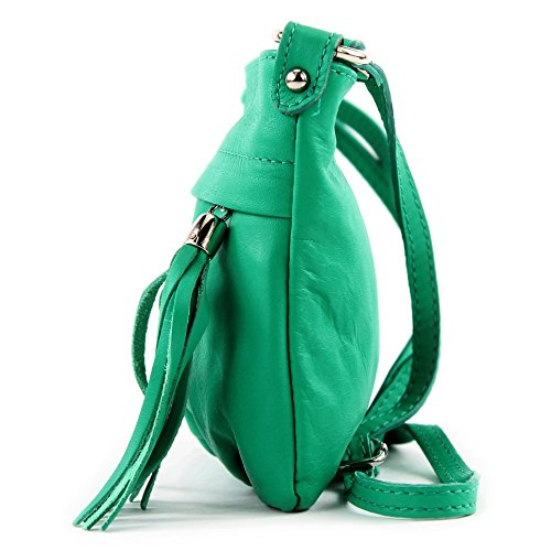 modamoda - ital. Ledertasche Umhängetasche Handtasche Klein Damentasche Nappaleder T32 Aquamarin