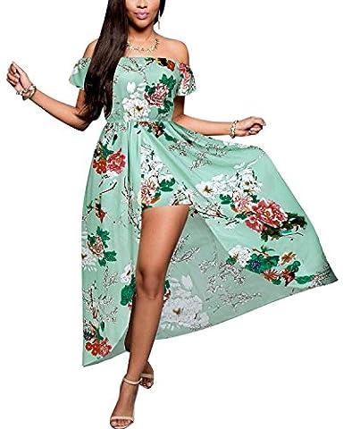 BIUBIU Women's Sexy Floral Print Off Shoulder Maxi Dress Summer Beach Party UK 6-18 Light Green UK 18