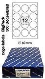 6.000 Etiketten 60 mm rund selbstklebend auf DIN A4 Bögen (3x4 Etiketten) - 500 Blatt Bigpack - Universell für Laser/Inkjet/Kopierer/Farblaser einsetzbar - 60mm Durchmesser 12-teilig