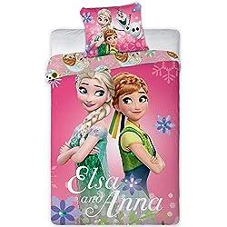 Disney Reine des NEIGES Parure de lit Bébé 100% Coton - Housse de Couette 100x135 + Taie 40x60 cm
