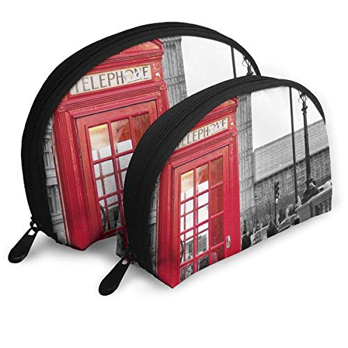 Black White and Red London City Shell Portable Bags Clutch Pouch Cosmetic Makeup Bag Pouch 2Pcs -