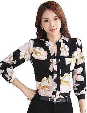 Teamyy Camisa Blusa de Gasa Casual para Mujer Manga Larga Impresión Floral
