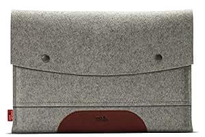 """MacBook AIR 13"""" Housse Case Cover - En Feutre De Laine 100% Mérinos Et Cuir Naturel A Tannage Végétal Gris/Marron Clair"""