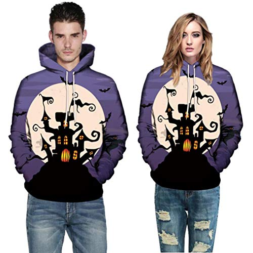 MCYs Unisex Männer Frauen 3D Print Langarm Halloween Paare Hoodies Top Bluse Shirts Sweatshirt Pullover mit Kapuze