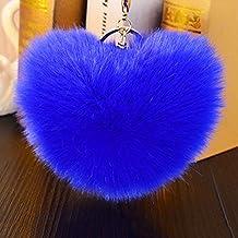 Interesting® suave conejo de piel con forma de pompón bola encanto coche llavero bolso colgante llavero - azul