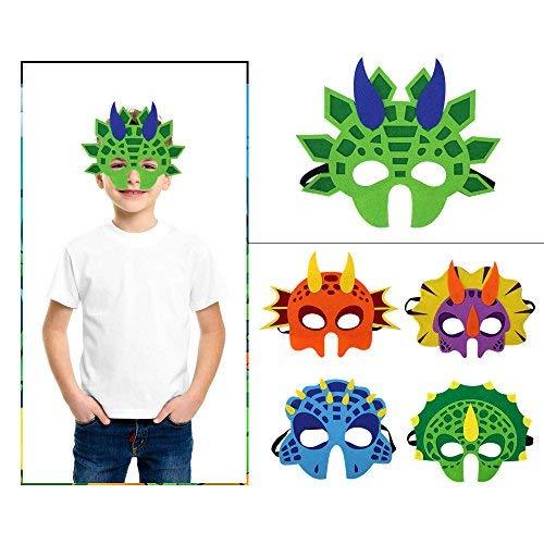 Kinder Dinosaurier KostümeTiermasken Filz Cosplay Party Augen Masken mit elastischen Seil 5 Stück
