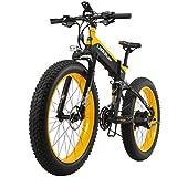 LANKELEISI neue All-Terrain Leistungsstarke Elektro-Bike 26 Zoll 4.0 Fett 500W Motor 48V10AH Ebike 27 Speed Snow MTB elektrische Fahrrad falten (Schwarz Gelb)