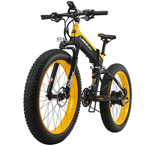 SMLRO \'lankeleisi 1000W Motore Nuovo tout-puissant Bicicletta elettrica potente 264.0Fat 48V10AH Ebike 27Velocità neve Mountain Bike Bicicletta elettrica pieghevole, Noir-jaune