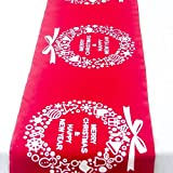 Yaoaomon Christmas Cotton Linen Tablecloth Christmas Decorative Table Runners Covers Red Christmas Ring