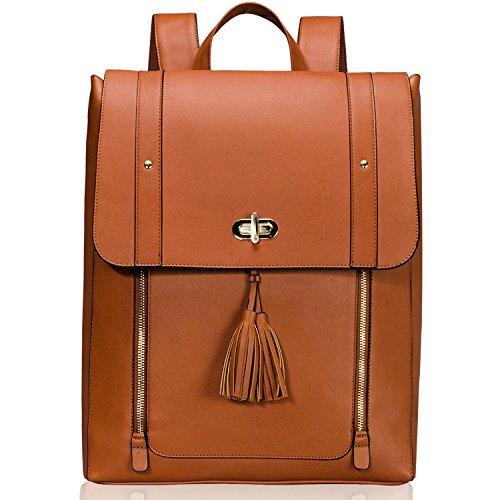 """Estarer Sac à dos Femme Cuir Marron Sacoche Ordinateur Portable 15.6"""" Cartable Sac porté dos Scolaire Fille Backpack"""
