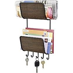 mDesign Portachiavi da Muro con Doppio Ripiano Contenitore - Appendichiavi e portaoggetti da parete in acciaio con scaffali - Per chiavi, lettere, giornali - Colore: bronzo