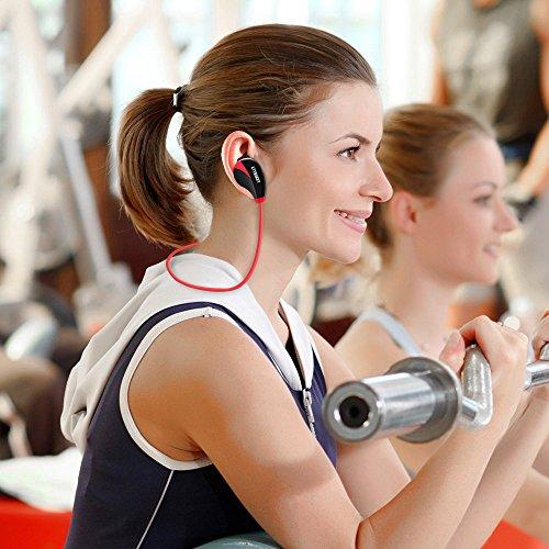 Bluetooth Kopfhörer, AELEC S350 Wireless In-Ear Kopfhörer Ohrhörer Sport Sweatproof Noise Cancelling Kopfhörer mit Mikrofon für das Laufen Joggen, Rot - 6