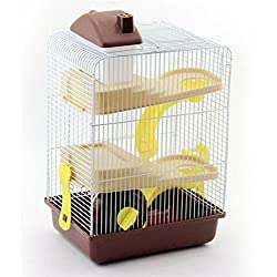 Pet Online Hamster jaula de tres pisos de lujo de hámster con castillo alto con el juguete, marrón