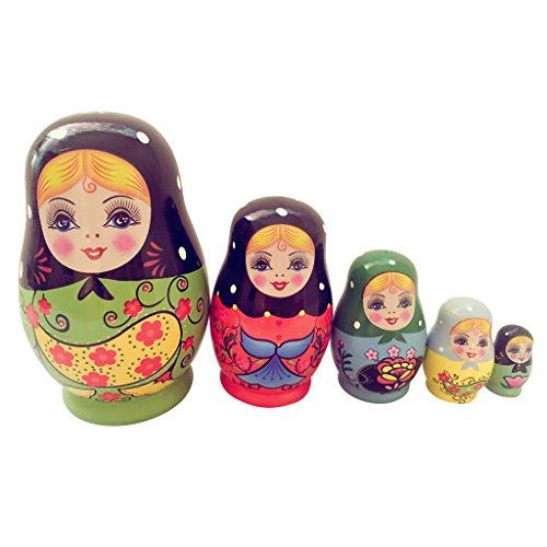 D DOLITY Set de Juguetes de Muñeca Rusa de Madera Juguete Regalo para Niños - 5 Piezas, 11 * 7cm