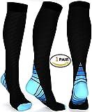 BoXianer Kompressionsstrümpfe Sport Kompressionssocken Compression Socks Running für Damen Herren, Laufen, Flug, Medizinische, Reisen, Schwangerschaft, Arbeit, Krankenschwester und täglicher Gebrauch. (EU43-45, 1*Blau)
