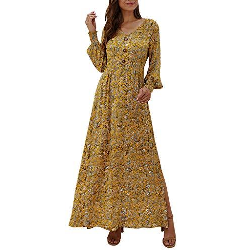 TWIFER Femme Robe Longue Manche Longue Boheme Imprimé Fleurie Hiver Fluide Chic Robe de Soirée Cocktail Longue