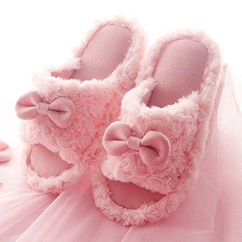 CWAIXXZZ Plüsch Hausschuhe Herbst Winter Hausschuhe aus Baumwolle weiblichen hübschen Innenpool warme Wohnung Hausschuhe dicken, rutschfesten Plüsch Schuhe auf den Schuh tragen, 38/39 (37/38), Rosa Pink Bow Tie (Bow Wohnungen Tie)