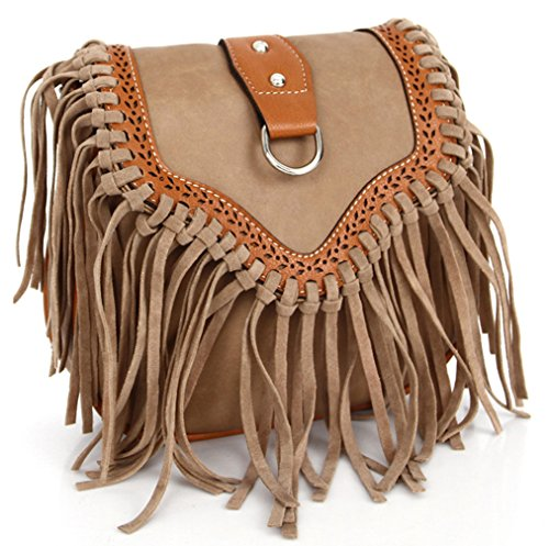 Keshi neuer Stil Damen Handtaschen, Hobo-Bags, Schultertaschen, Beutel, Beuteltaschen, Trend-Bags, Velours, Veloursleder, Wildleder, Tasche Light Café