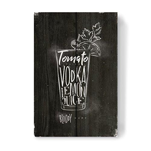 artboxONE Holzbild 30x20 cm Essen & Trinken/Alkohol Bloody mary cocktail chalk von Künstler Anna Kozlenko