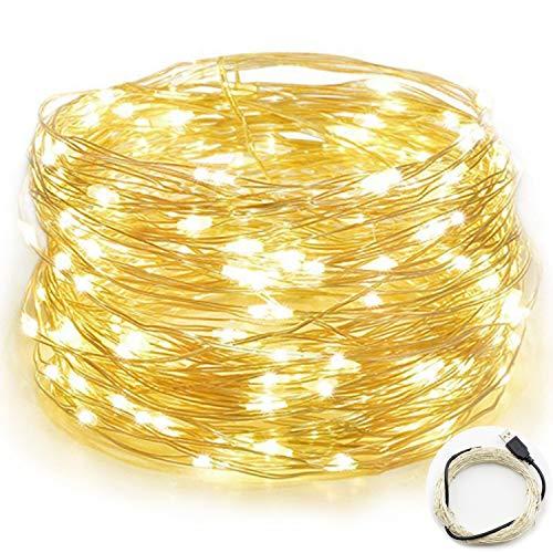 Guirlandes Lumineuse Étanche Cuivre Fil 10M 100 LEDs Comme Etoilées Lumières LED pour Noël Mariage Décoration d'extérieur et intérieure Charger par USB