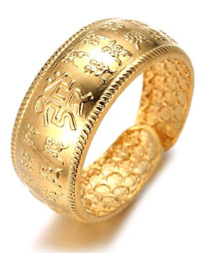 3738e51fe839a Halukakah Or BÉNISSE Tous Le Bague de l homme en 18K Or Véritable Doré Rich  Taille Réglable avec Le Boîte-Cadeau Gratuit