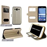 Étui Housse Folio fenêtre OR GOLD SAMSUNG GALAXY J3 ,SM-J320H/DS, Galaxy J3(6), Galaxy J3 2016 - by Campus Telecom®