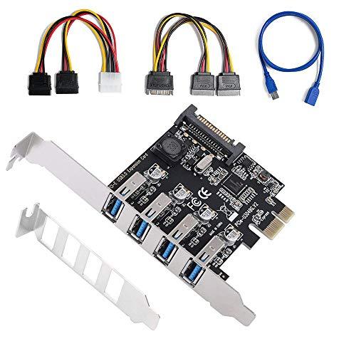 0.875 (QNINE USB 3.0 PCIe Karte, 4 Port USB 3.0 PCI Express Card PCIe Controller mit 2U Bracket, USB 3.0 Karte für Desktop PC, Unterstützung von Windows XP / 7/8 / 10)