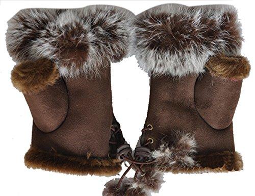 Frauen Handgelenk Fingerlose Handschuhe Warme Winter Faux Kaninchenfell (Kostüme Fahrt Leder)